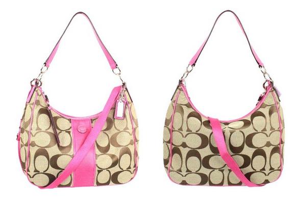 Coach- Signature-Stripe-Convertible-Hobo-Handbag-Khaki-and-Pink-21873-CoachHandbags.ca_