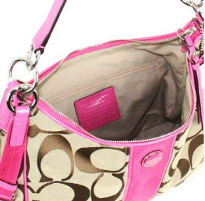 Coach-Signature-Stripe-Convertible-Hobo-Handbag-Khaki-and-Pink-21873-interior-CoachHandbags.ca_