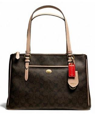 Coach-Peyton-Brown-Signature-Double-Zip-Carryall-Style-26187-main-side-view-CoachHandbags.ca_