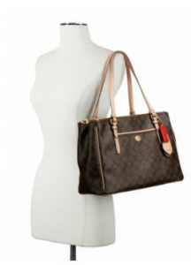 Coach-Peyton-Brown-Signature-Double-Zip-Carryall-Style-26187-on-shoulder-CoachHandbags.ca_