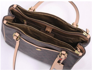 Coach-Peyton-Brown-Signature-Double-Zip-Carryall-Style-26187-top-bag-interior-view-CoachHandbags.ca_